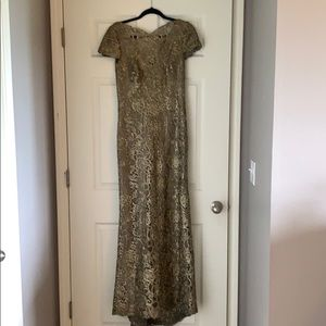 Gold embroidered lace,taupe long dress with train.